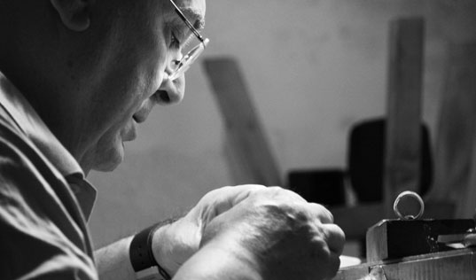 Pietro at work on a Jewelry